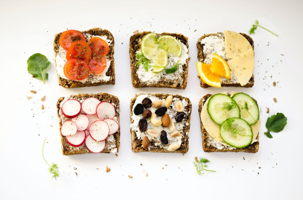 Six healthy open sandwiches